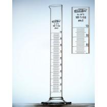 cylinder Kl B 0100 ml stopa szklana sześciokątna (czasowo skala brązowa)