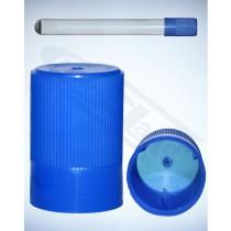 korek-niebieski kapsel z wentylacją do probówek 15 op=10szt